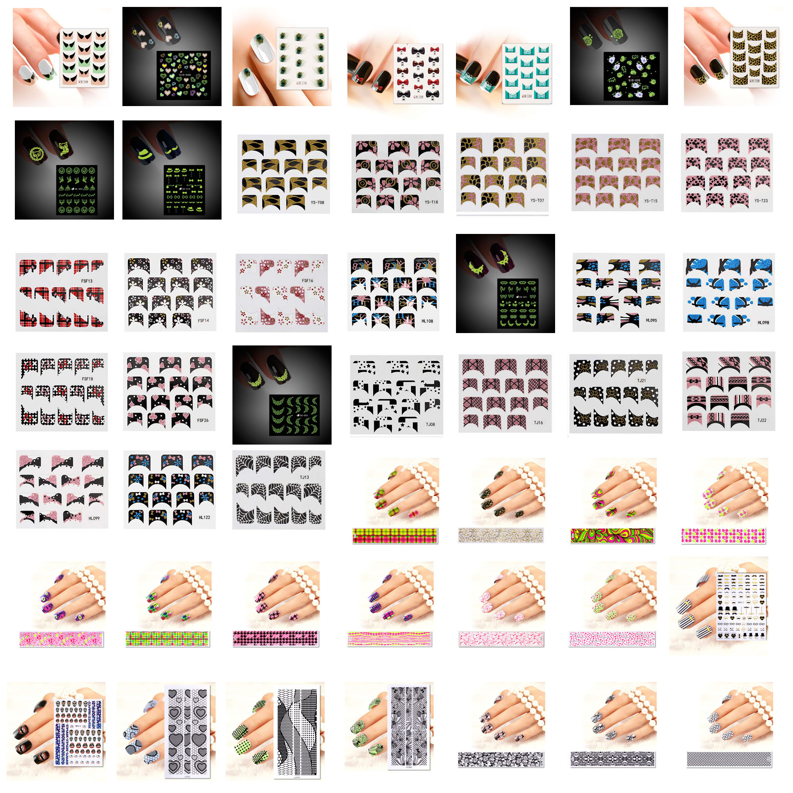 BMC Mystery Surprise 10 Sheet Mix Design Nail Art Stickers Water Transfer Strips Kit