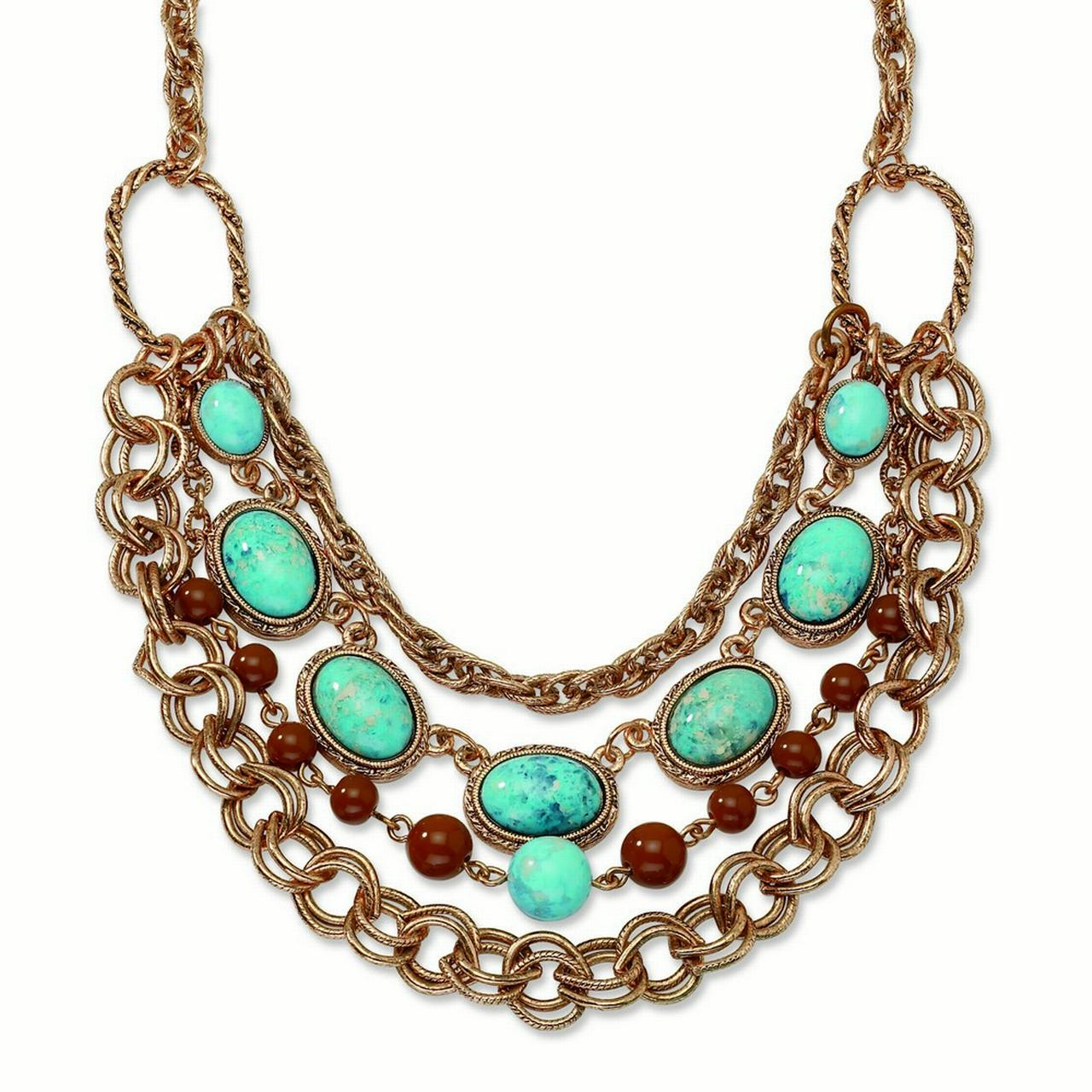 Copper-tone Aqua and Brown Beads Multistrand 16inch With Ext Necklace - 57.6 Grams