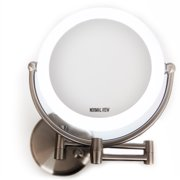 "Makeup Vanity LED Lighted Wall Mount Mirror 10x/1x Mag 8.6""D x 17.5""H Satin Nickel Finish"