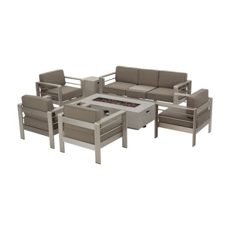 Aluminum 7 Piece Patio - Home Cape Coral Aluminum 7 Piece Fire Pit Patio Set