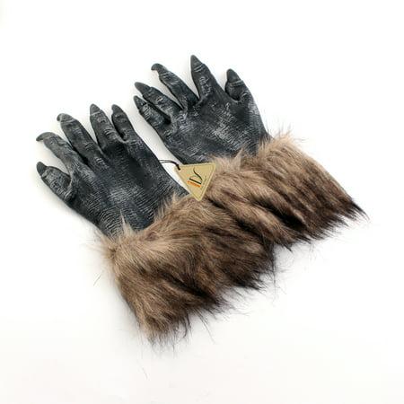 Wolf Dressed As Grandma (GREY WEREWOLF LATEX GLOVES For FANCY DRESS SCARY WOLF WAREWOLF DOG)