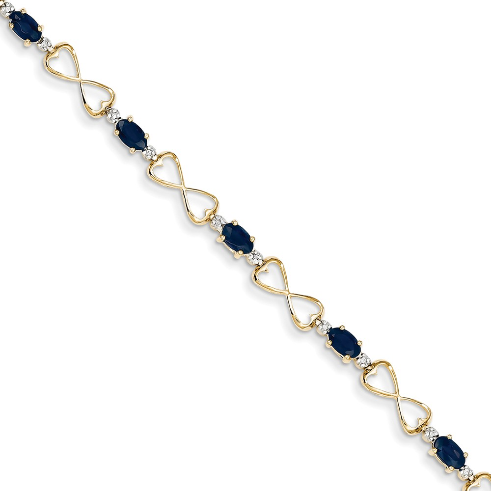 "Solid 14k Yellow Gold Heart Diamond and Simulated Sapphire Oval Bracelet 7"" with Secure Lobster Lock Clasp (5mm) by AA Jewels"