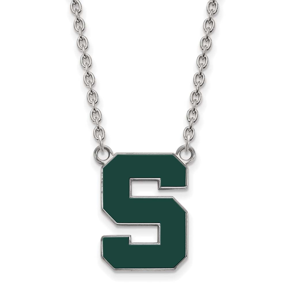 Michigan State Large (3/4 Inch) Enamel Pendant w/Necklace (Sterling Silver)