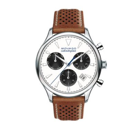 Heritage Stainless Steel Laser Cut Leather Strap Watch