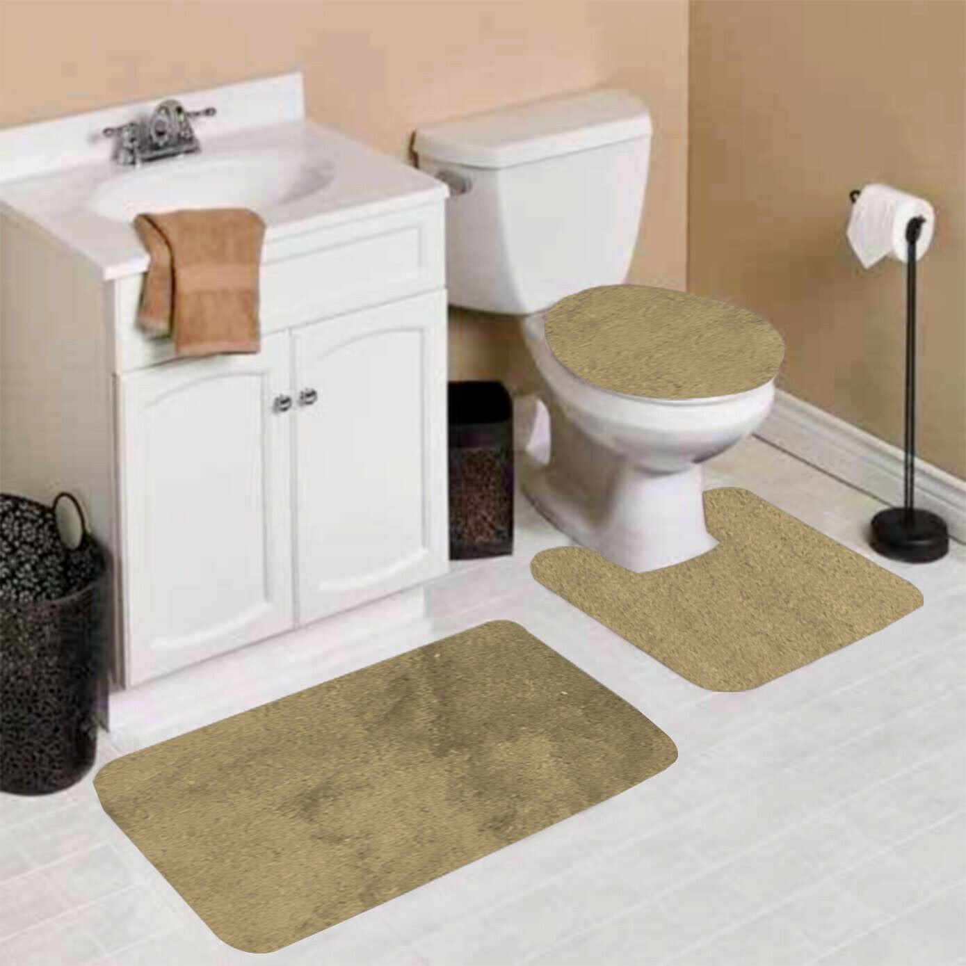 Piece Sage Solid Non Slip Bathroom Rug