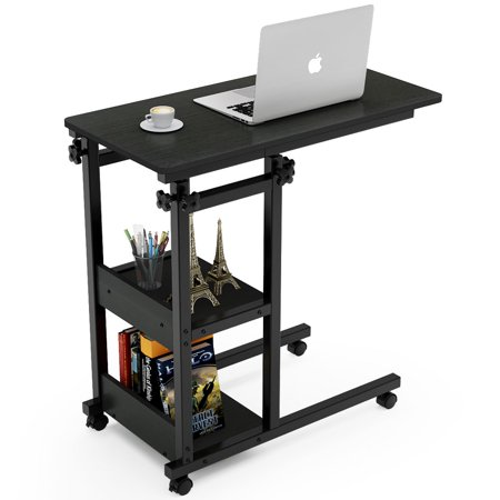 Tribesigns Snack Side Table, Mobile End Table Height Adjustable Bedside Table Laptop Rolling Cart C Shaped TV Tray with Storage Shelves for Sofa Couch (Black) Oak Wide Computer Cart