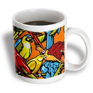 - 3dRose Parrots and Tropical Bird Pattern, Ceramic Mug, 11-ounce