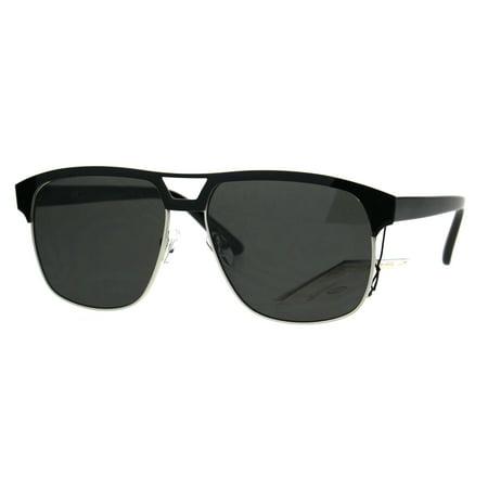 Mens Metal Rim Racer Oversize Mobster Sport Sunglasses All Black