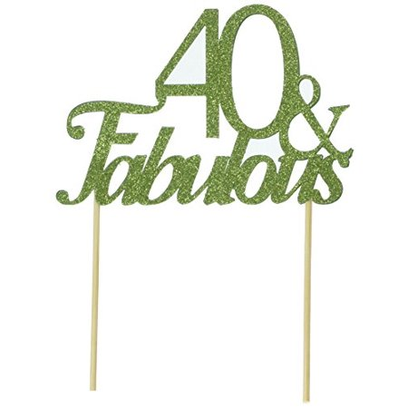 All About Details Lime Green 40-&-fabulous Cake Topper,1pc, 40th Birthday, Party Decor - 40th Birthday Decor