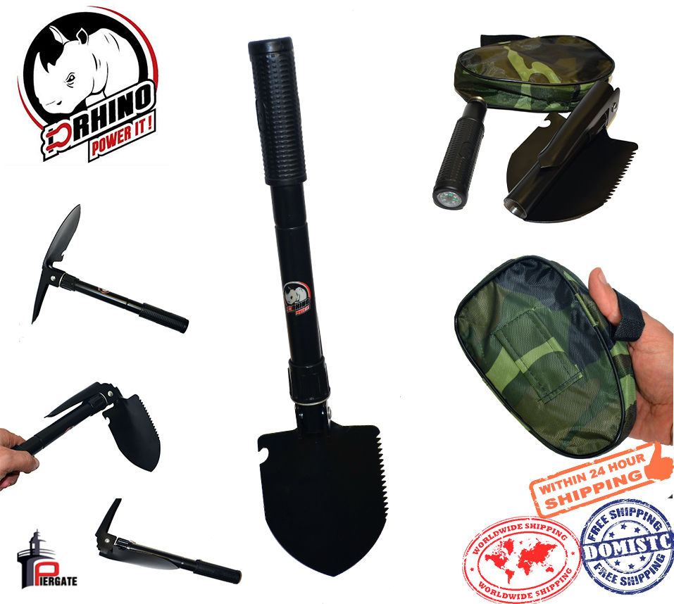 10 in 1 Military Utility Folding Multi Shovel Outdoor Camping  Survival Tool CA