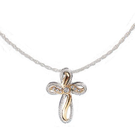 Women's Two Tone Cross Jewelry Necklace Pendant, -