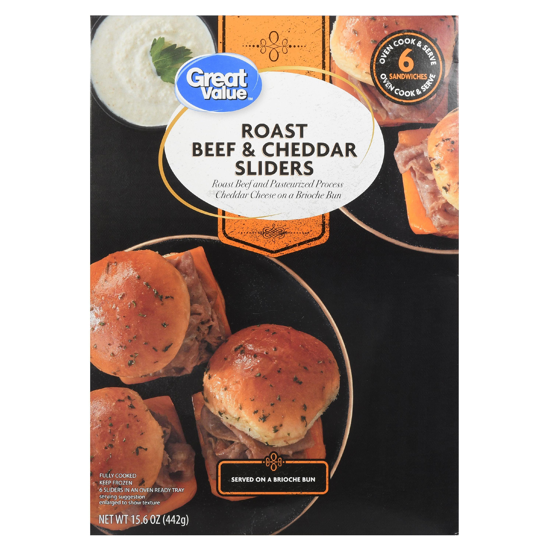 Great Value Frozen Roast Beef & Cheddar Sliders, 15.6 oz, 6 Count
