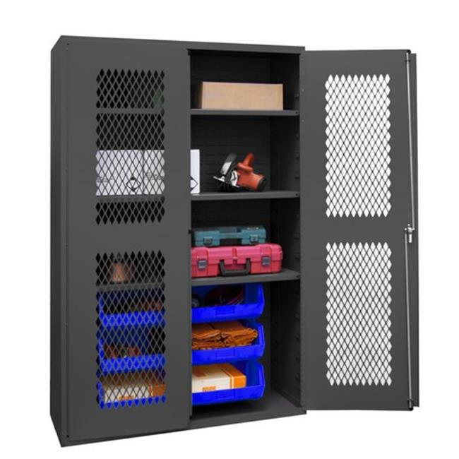 14 Gauge Flush Door Style Lockable Clearview Cabinet with 6 Blue Hook on Bins & 3 Adjustable Shelves, Gray - 48 in.