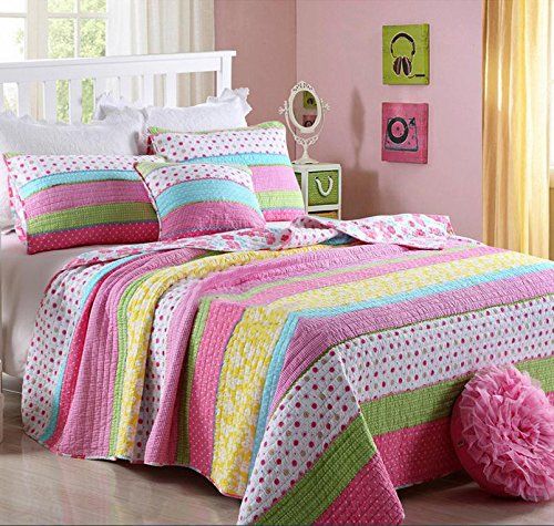Best Comforter Set 2 Pieces Bedding Set Pink Dot Striped ...
