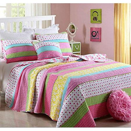 Best Comforter Set 2 Pieces Bedding Set Pink Dot Striped Floral