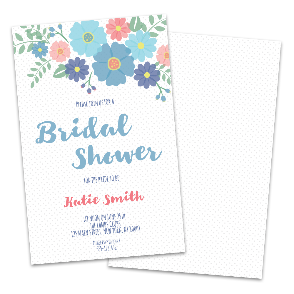 Personalized Spring Floral Bridal Shower Invitations