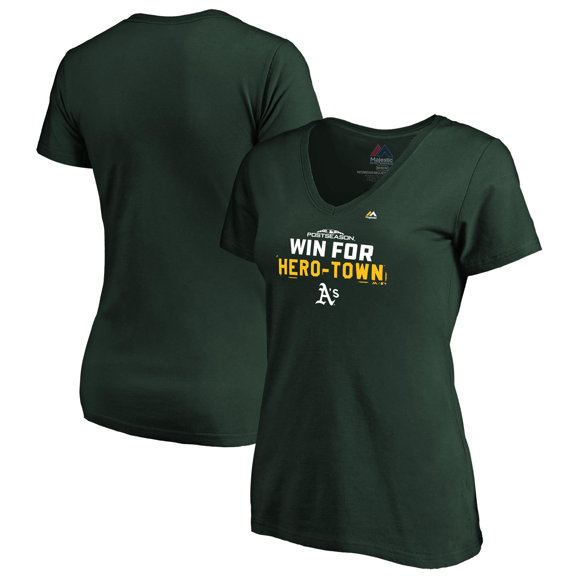 Oakland Athletics Majestic Women's 2018 Postseason Authentic Collection V-Neck T-Shirt - Green