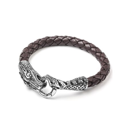 - Stainless Steel Dragon Brown Woven Leather Bracelet - 8.5