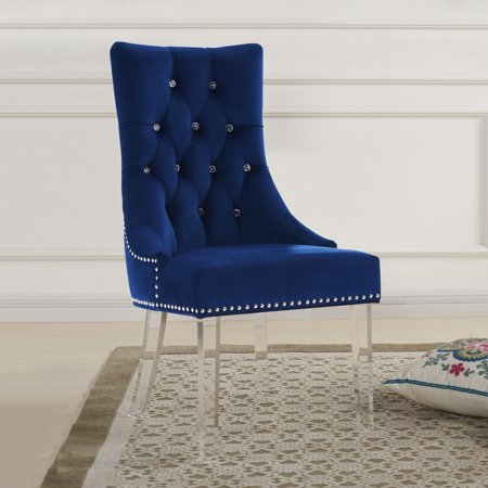 Marelana Neeson Modern And Contemporary Tufted Dining Chair In Blue Velvet With Acrylic Legs