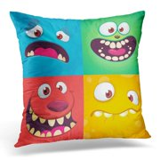 CMFUN Cartoon Monster Faces of Four Halloween with Different Expressions Children Book Illustrations Party Pillow Case Pillow Cover 20x20 inch