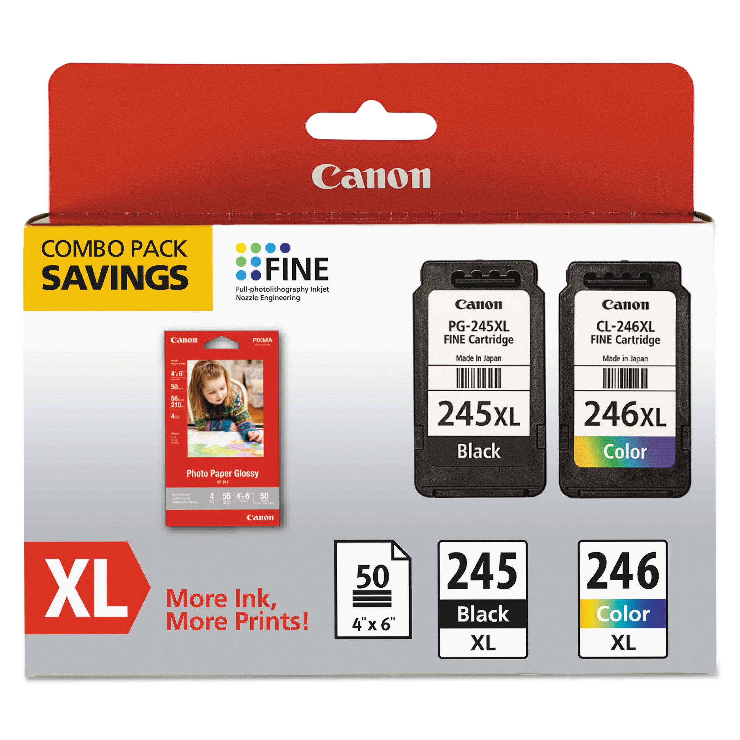 Canon 8278B005 (PG-245XL/CL-246XL) Ink & Paper Combo Pack, Black/Tri-Color