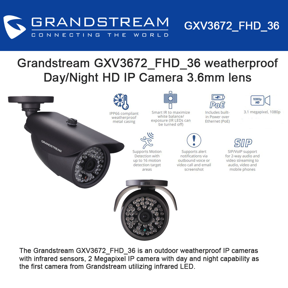 Grandstream GXV3672_FHD_36 Outdoor 1080p Day/Night HD IP Camera, 3.6mm lens