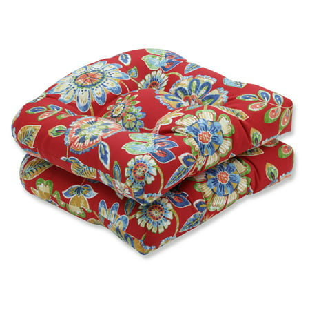 Pillow Perfect Daelyn Cherry Wicker Chair Seat Cushion - Set of 2