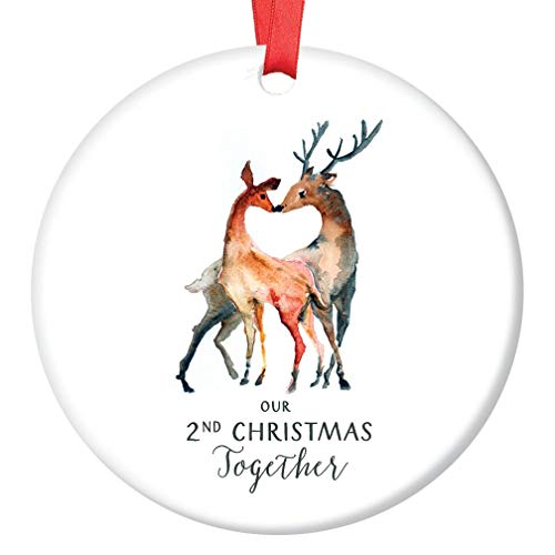 "Our 2nd Christmas Together Ornament, Deer Couple Ornament, Couples Second Christmas Together, 3"" Flat Circle Christmas Ornament w Glossy Glaze, Red Ribbon & Free Gift Box 