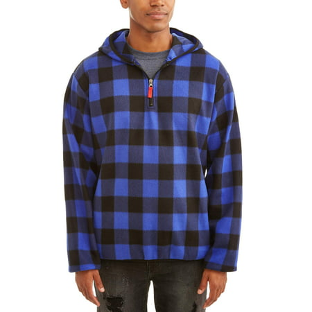 Men's 1/4 Zip Buffalo Plaid Print Microfleece Jacket, Up to Size -