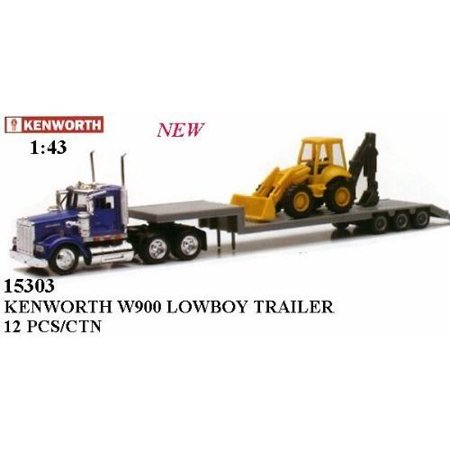 Newray 1:43 Trailer Kenworth W900 with Backhoe Loader 1/43 Scale Replica