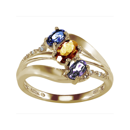 Personalized Family Jewelry Alyssa 3 Genuine Birthstone Mother's Ring in 10K Yellow Gold over Sterling Silver](3 Birthstone Ring)