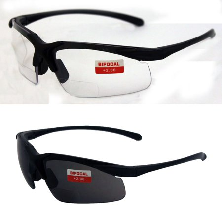 Two Pairs of Apex 2.0 Bifocal Safety Glasses, One Pair with Clear Lenses and One with Smoked