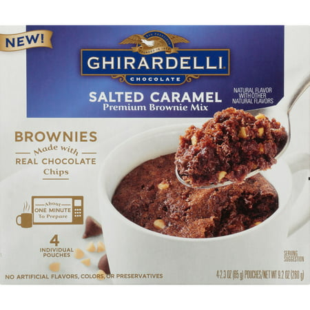 (2 Pack) Ghirardelli Salted Caramel Mug Brownie Mix, 9.2-Ounce