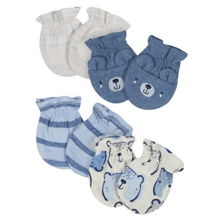 - Gerber Organic Cotton No-Scratch Mittens, 4pk (Baby Boys)