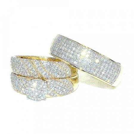 - Trio Rings Wedding Set for His and Her 0.7cttw Diamonds 10K Gold
