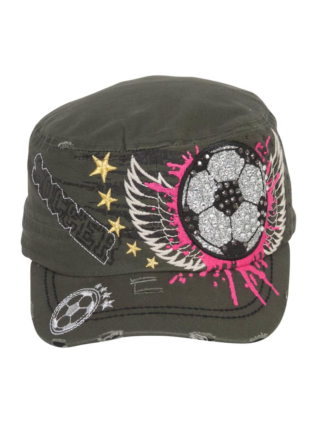 TopHeadwear Winged Soccer Ball Distressed Cadet Cap - Olive 387f9d72fcb