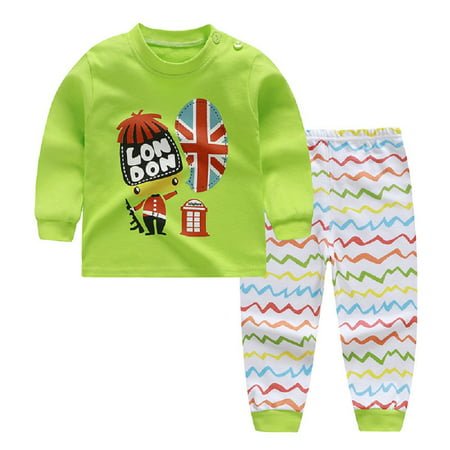 2Pcs Baby Toddlers Kids Long Sleeve Pajamas Set Round Collar Tops + Pants Soft Cotton Outfits