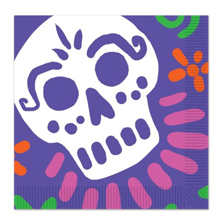 Club Pack of 192 Lilac Purple Day Of The Dead 2-Ply Skull Party Luncheon Napkins 6.5