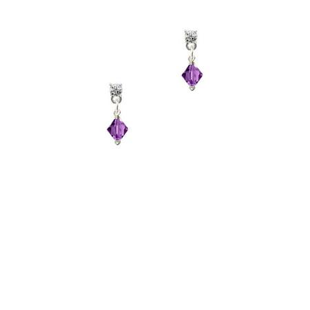 February - Purple - 6mm Crystal Bicone Clear Crystal Post Earrings ()