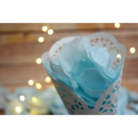 Arctic Spa Blue Silk Rose Petals Confetti for Weddings in Bulk - Wedding Sparklers Bulk