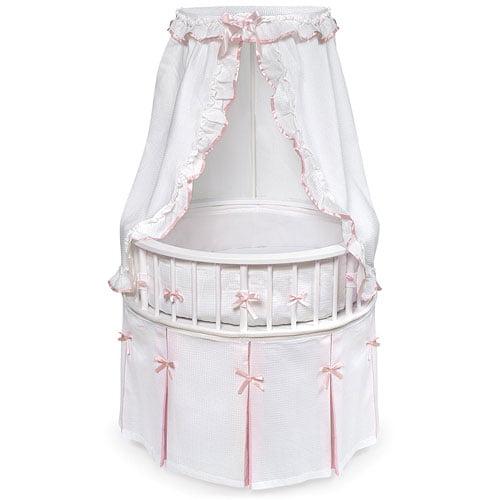 Badger Basket Round Elegance Baby Bassinet, in Pink by Badger Basket