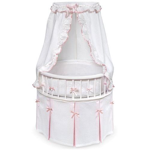 Badger Basket - Round Elegance Baby Bassinet, in Pink