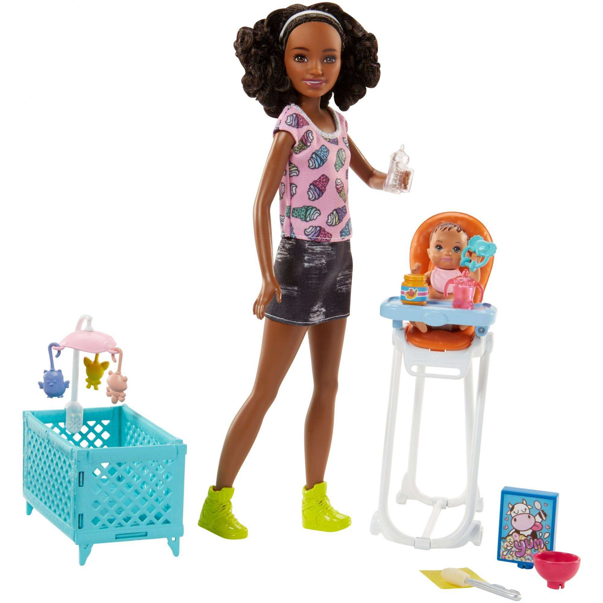 Barbie Babysitters Inc. Nikki Doll and Feeding Playset