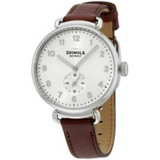 Shinola The Canfield Silver Dial Leather Strap Ladies Watch 20001935