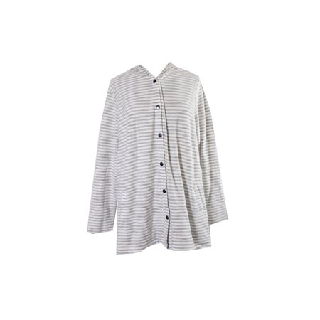 6dcf5df46d12b Style   Co Plus Size Ivory Beige Striped Hooded Cardigan 2X ...