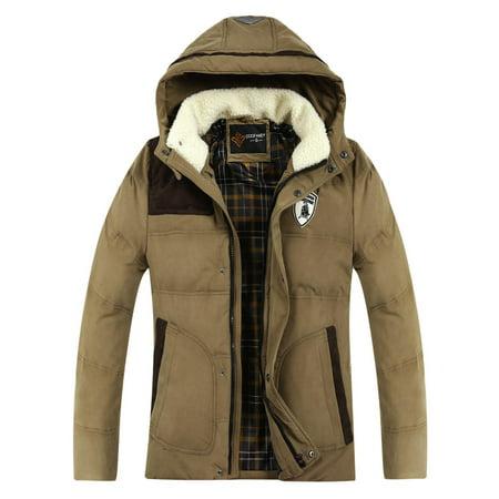 Elecmall Men Hooded Zipper Coat Winter Jacket Warmer Casual Leisure Cotton Outwear Elec