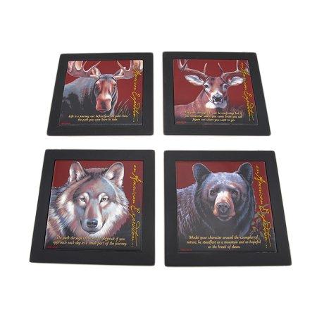 Set of 4 Wildlife Wood Framed Ceramic Tile Trivets or Wall Hangings