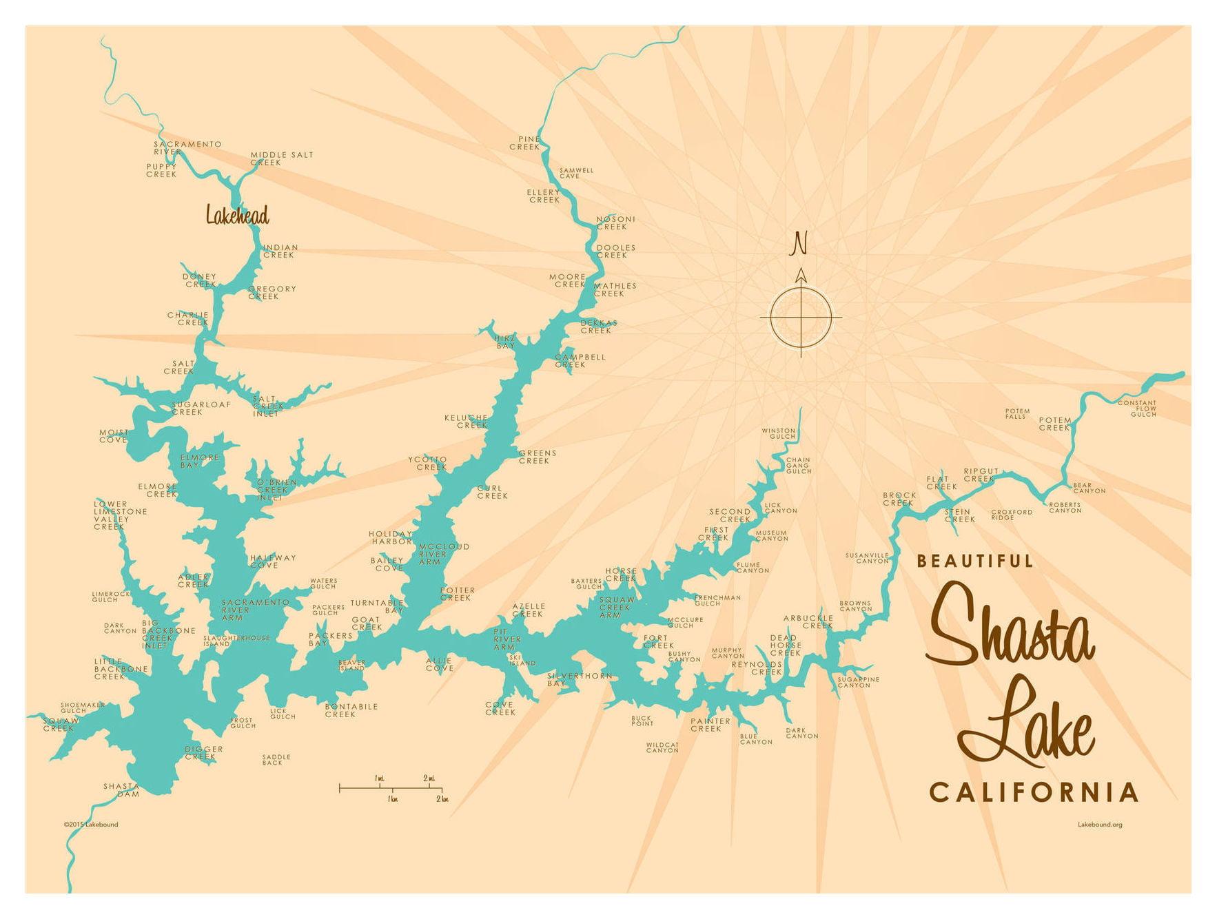 Shasta Lake California Map Vintage Style Art Print By Lakebound 30
