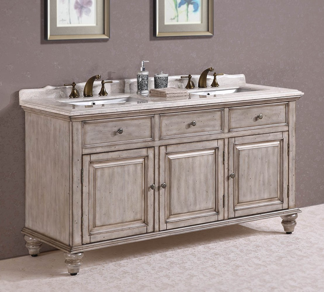 Legion Furniture WH3167 Solid Wood Sink Vanity With Marble Top And Backsplash In Antique White