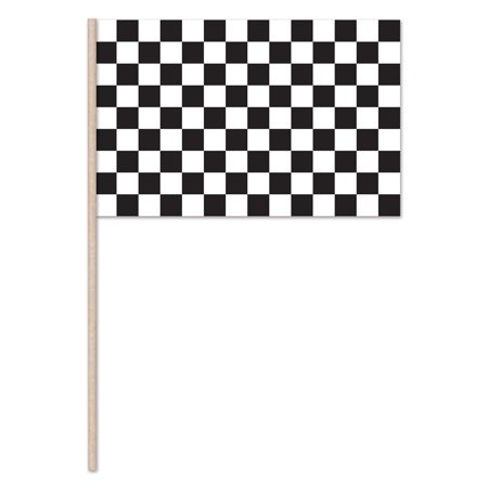 (Pack of 144) Racing Flag Plastic with 22'' wooden dowel